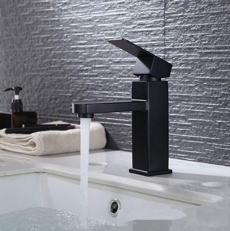 ROKTONG Matt Black Stainless Steel Bathroom Faucet Basin Mixer Square Tap Bathroom Sink Basin Mixer Tap,A
