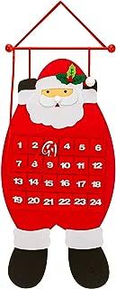 SAVITA Felt Advent Calendar, 3D Santa Felt Hanging Advent Calendar with Pockets 24 Days, Christmas Countdown Calendar for Christmas Decorations, Indoor Home Door Wall Decorations
