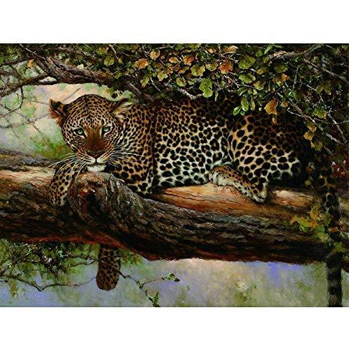 Tutu Malen nach Zahlen DIY Ölgemälde Leinwand Gemälde für Erwachsene Wandkunst für Heimdekoration Ohne Rahmen-Leopard