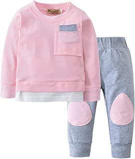 Autumn Baby Set Long Sleeve Solid Color T-Shirt Tops+Pants 2PCS Clothes,SIN vimklo