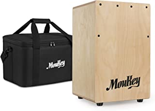 Moukey Portable Cajon DCD-1K Wooden Small Mini Cajon Drum Box with Bag, Birchwood Percussion String