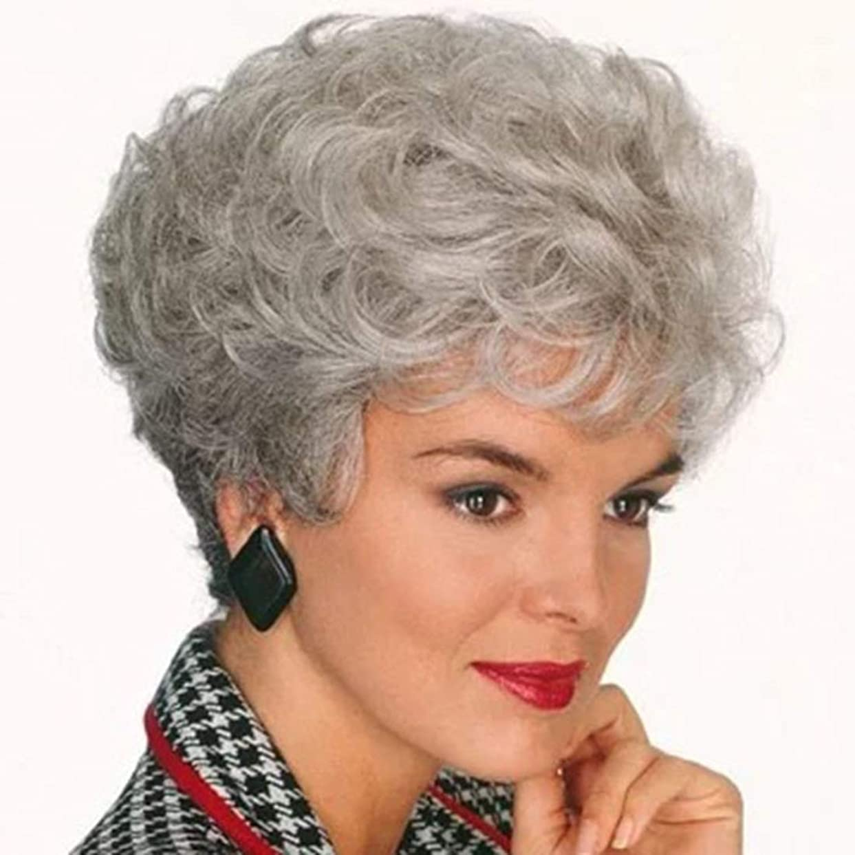 Koloeplf 女性用フルショートヘアウィッグまたは男性用ふわふわナチュラルかつらコスプレ用ウィッグ150g(ブラック/ダークブラウン/ライトブラウン/グレー)