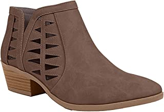 Women's Perforated Cut Out Stacked Block Heel Ankle Booties