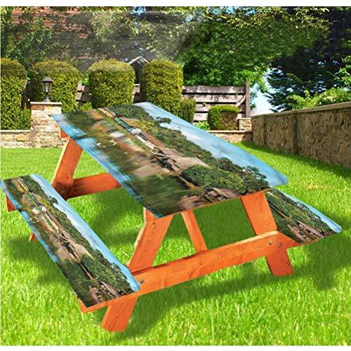 Mantel de mesa y banco de picnic con borde elástico tropical Amazon Riverside, 28 x 72 pulgadas, juego de 3 piezas para camping, comedor, exterior, parque, patio