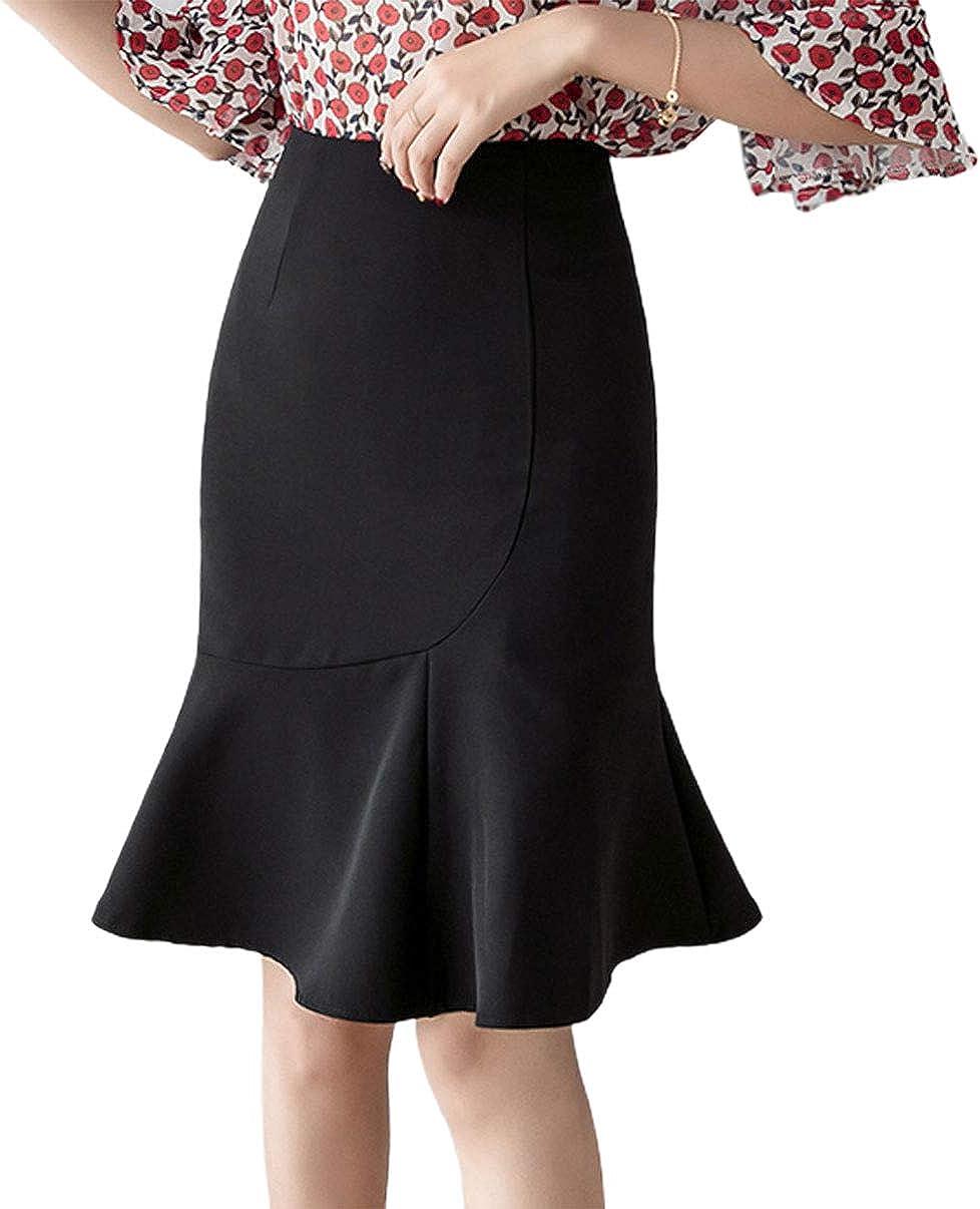 CHARTOU Women's High Waist Package Hip Ruffled Fishtail Office Work Bodycon Midi Skirt