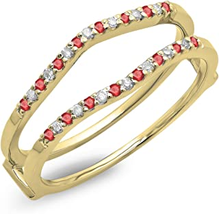 ATTA GEMS Womens Anniversary Wedding Ring Round 8mm Ruby Birthstone Sterling Silver Promise Ring Size 5-11.5