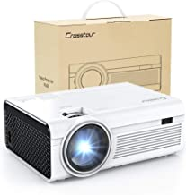 Crosstour Mini Projector LED Video Projector Home Theater Supporting 1080P 55,000 Hours Lamp Life Compatible with HDMI/USB/SD Card/VGA/AV and Smartphone (Disinfected)