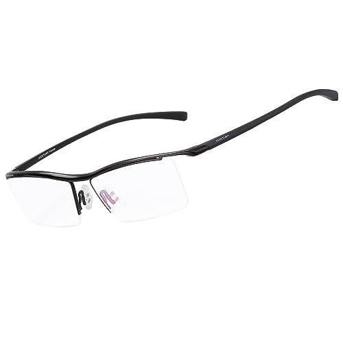 28db32afc47 Agstum Pure Titanium Half Rimless Business Glasses Frame Eyeglasses Clear  Lens