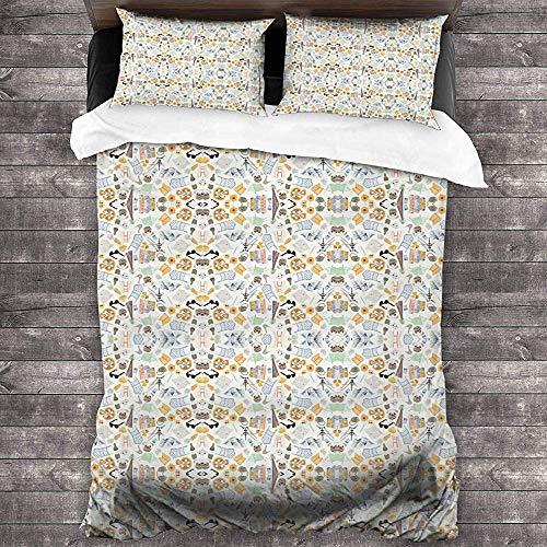 Imodest Bettbezug Pizza Sonnenbrille Badeanzug Flora 3-teiliges Bettwäscheset mit Reißverschluss + 2 Kissenbezügen für Schlafzimmer oder Gästezimmer
