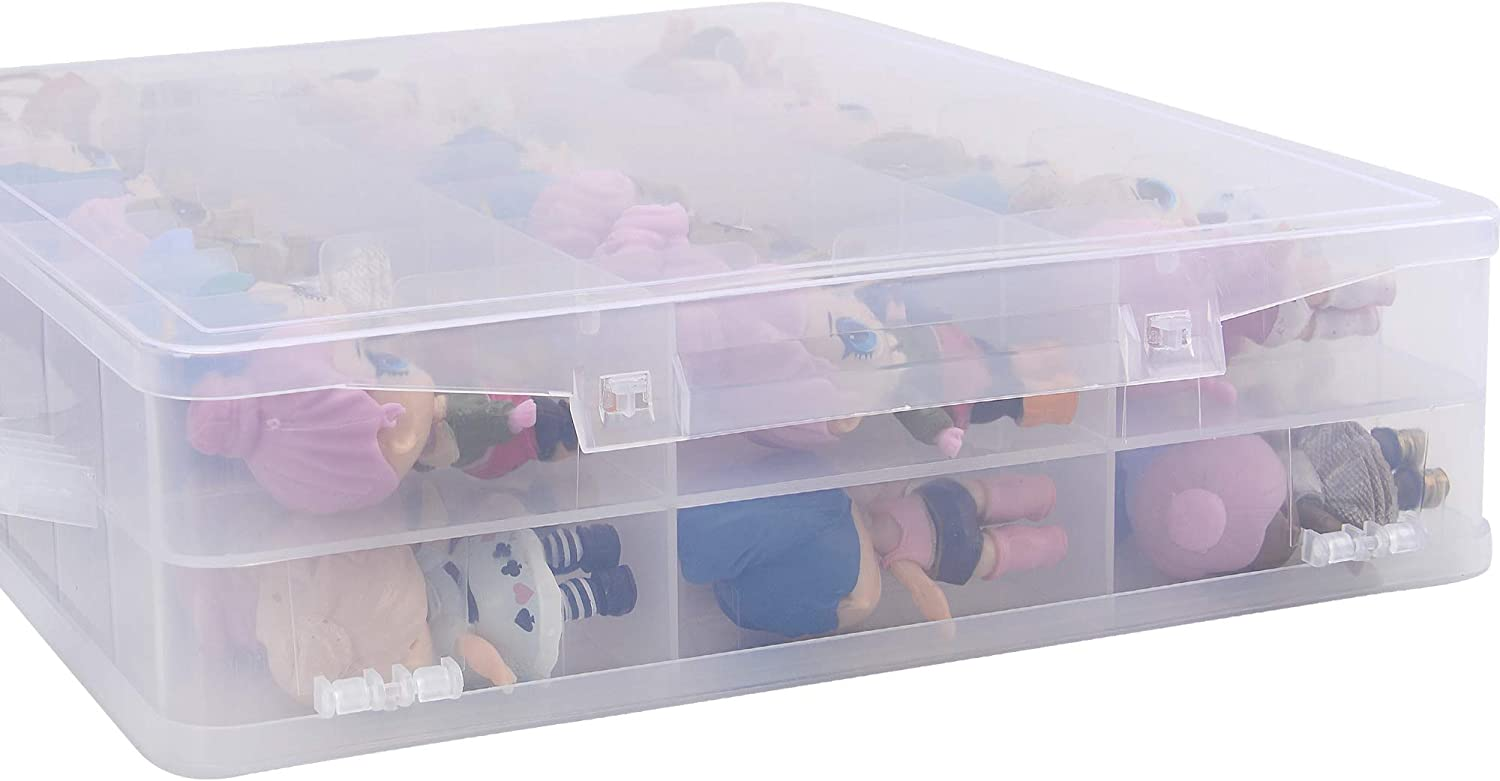 Toy Storage World LOL Organizer Case Box Double Sided Container Clear BPA Free 48 Compartments Compatible LOL Dolls Lego Dimensions Shopkins Barbie Accessories Hot Wheels Cars Craft Surprise