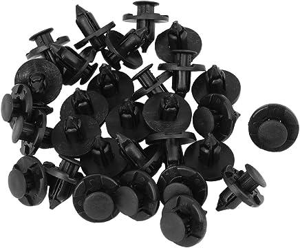 Remache Clip - SODIAL(R) 30 Piezas 8mm Agujero Negro Plastico Remache Cierre Parachoques Clip
