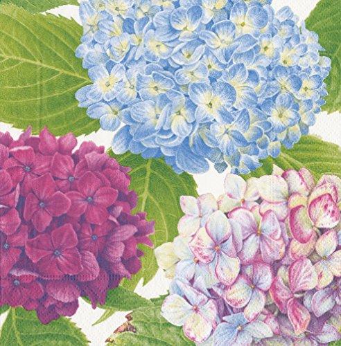 Caspari Hydrangea Garden Napkin Luncheon, Confezione da 20, Carta, Blu, 16.5x 16.5x 3cm