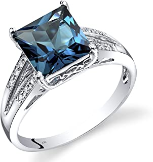 14K White Gold London Blue Topaz Diamond Ring Princess Cut 3 Carats Total
