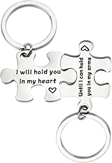 PLITI Long Distance Relationships Gifts Couple Puzzle Keychain I Will Hold You in My Heart Until I Can Hold You in My Arms Valentine's Day Wedding Gift