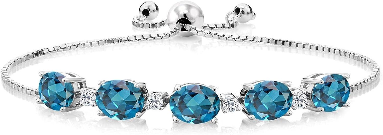 Gem Stone King 925 Sterling Silver Topaz T London Regular dealer Rapid rise Blue White and