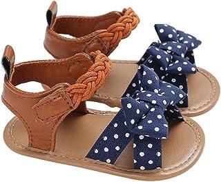 [Domybest] ベビーサンダル 女の子 キッズシューズ 幼児靴 滑り止め 歩く練習 赤ちゃん 柔らかい 可愛い 快適 ソフトボトム マジックテープ 出産お祝い 春 夏 リボン ドットパターン 人気