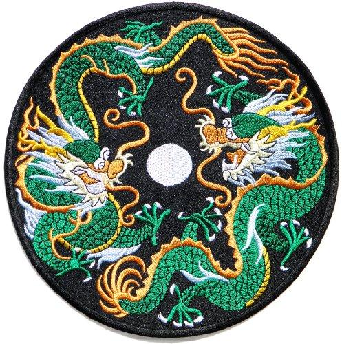 7.75'x7.75' Big Jumbo Large Chinese Dragon Lucky Fantasy Animal Yin Yang Kung Fu Teak Wan Do Tatoo Logo Back Jacket T-shirt Patch Sew Iron on Embroidered Sign Badge Costume