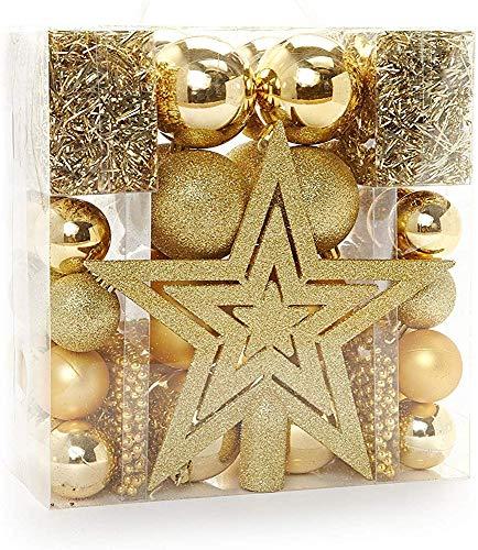 HEITMANN DECO Weihnachtsbaum-Schmuck - Gold - 45-teilig - Set inkl. Baumspitze, Kugeln, Perlketten und Girlanden - Kunststoff