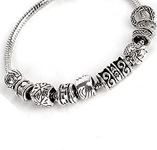 RUBYCA 50pcs Bulk Tibetan Silver Color Loose Charm Beads and 1pcs European Charm Bracelet 8.3 Inch