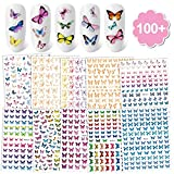 Konsait 100+pcs Butterfly Nail Art Stickers,3D Self-Adhesive Laser Mixed Butterfly Nail Decals Manicure Wraps Decoration Tools for Women Girls Kids DIY Nail Art Tools Accessories Salon Home Favor