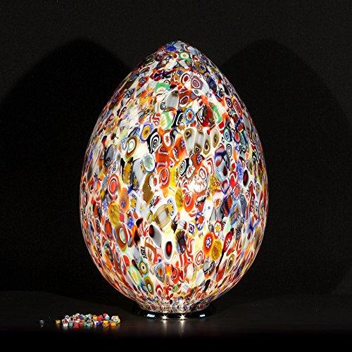 Tischleuchte Murano Zefiro, Murrine mehrfarbig, Höhe 28 cm, Durchmesser 18 cm, Tischlampe Murano Zefiro, mehrfarbig, Höhe 28 cm, Durchmesser 18 cm.