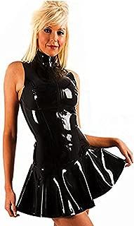 Women's PVC Zip Front Mini Dress Black Clubwear