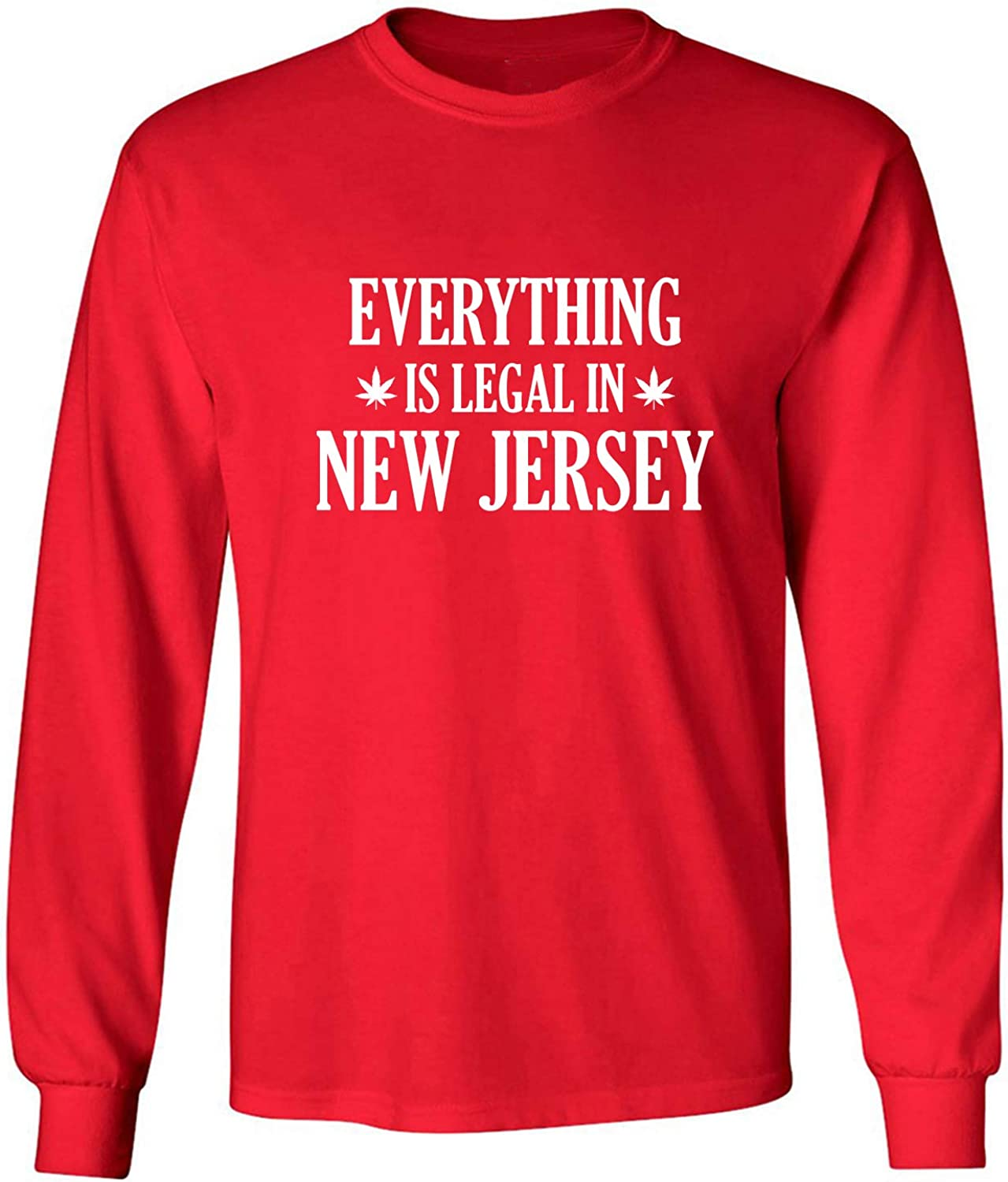 Everything is Legal in New Jersey Adult Long Sleeve T-Shirt in Red - XXXX-Large