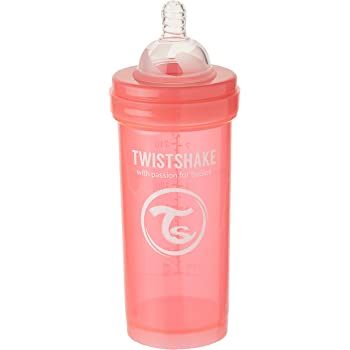 Twistshake - Biberón anticólico tetina silicona (260 ml.) coral ...