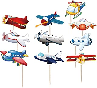 Coxeer 50PCS Cupcake Topper Creative Plane Cake Topper Mini Cake Topper for Kids