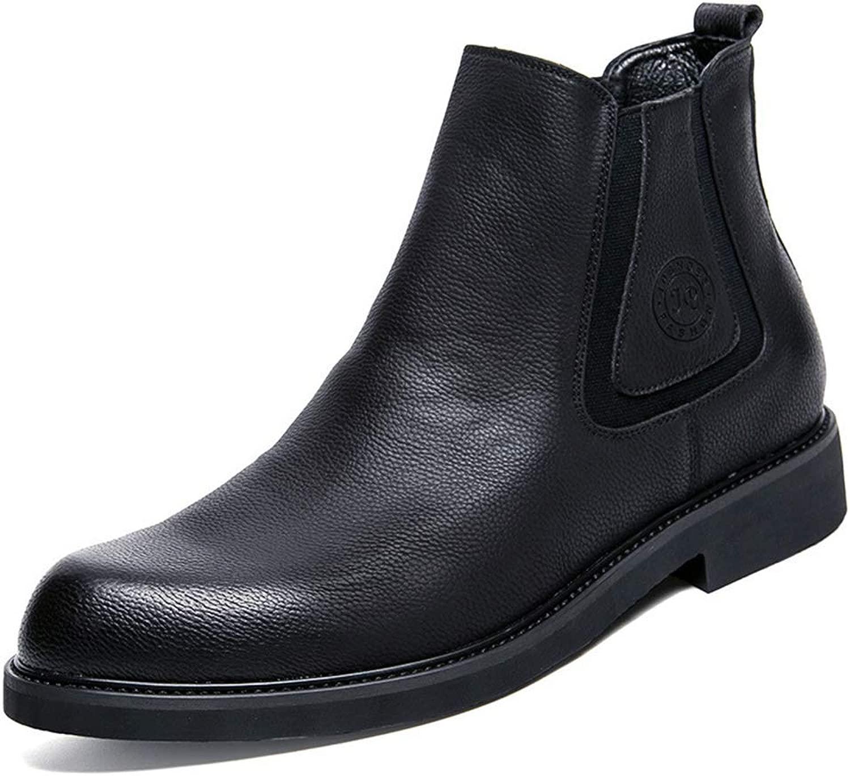 Chelsea Stiefel Stiefel Herren Schwarz Echtes Leder Runde Kappe Outdoor Wüstenstiefel Smart Casual Stiefel Für Sport Slip-On Ankle High Rise Schuh  große Einsparungen