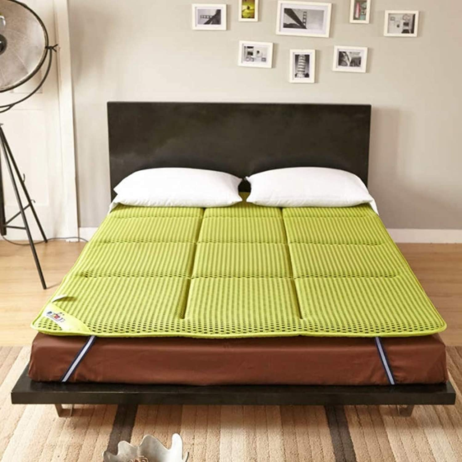 Japanese Tatami futon, Fluffy Breathable Mattress, Antibacterial Anti-mite Double Sleeping pad Breathe Mattress Topper Predector-Green 100x200cm(39x79inch)
