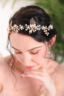 Fxmimior - Cerchietto vintage per capelli con perle e strass, accessorio per capelli a forma di foglia, fiore per capelli ...