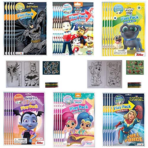 (30 PACK) Grab & Go Play Packs Kids Coloring Books With Crayons Party Favor Bulk for Boys Girls Princess Superhero Cartoon Characters Bulk activity books for kids Coloring Packs Bundle