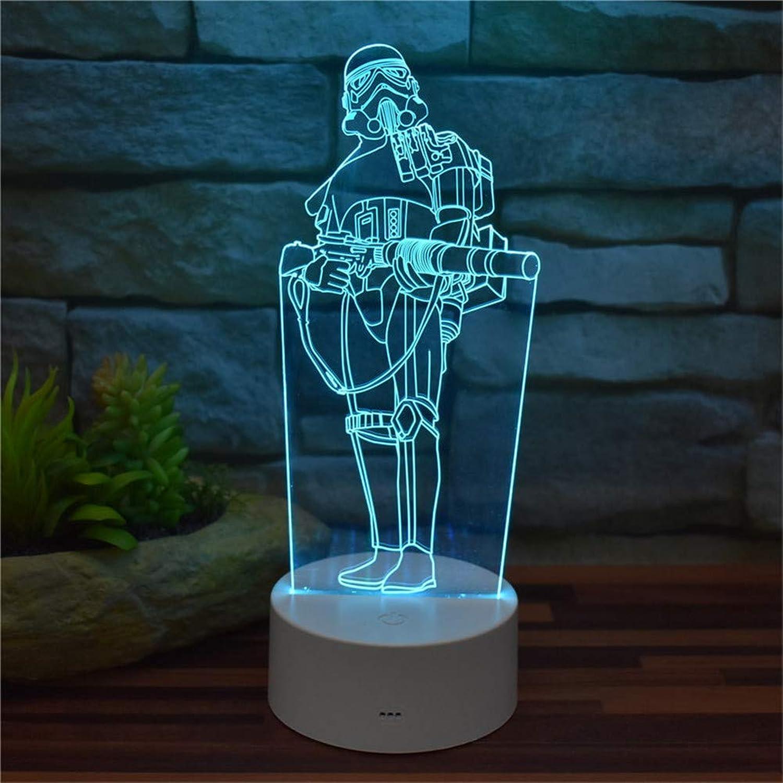 compras de moda online Luz de noche decorativa 3D Nueva ilusión 3D Luz de de de noche Star Wars Empire Stormtrooper Acrílico LED Efectos visuales Control remoto de luz 16 Cambio de Color con cable USB Base ABS Modelo creativo J  barato