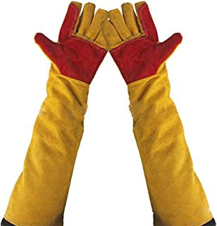 """23.6"""" Inch Long Sleeves Welding Safety Gloves, Cotton Lined And Kevlar Stitching Welders Gauntlets Wood Burners Accessories Gloves, Heat Resistant Stove Fire And Barbecue Gloves (23.6 Inches)"""