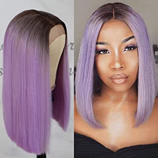Oxeely Ombre Short Bob Wig Purple Color Midium Length Deep Part Heat Resistant Synthetic Lace Front Wigs for Women