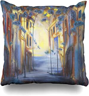Ahawoso Throw Pillow Cover Modern Blue Alley Early Morning Cityscape Abstract Watercolor Artistic Calm City Design Impressive Decorative Pillowcase Square Size 16