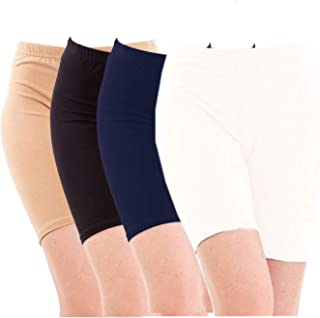 Pixie Biowashed Cycling Shorts for Girls/Women/Ladies Combo (Pack of 4) Beige, Black, NavyBlue, White - Free Size