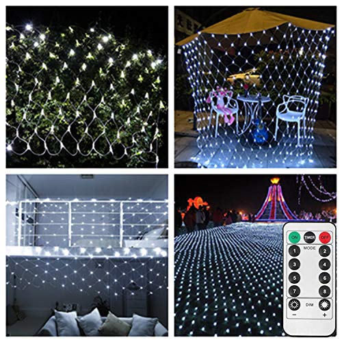 Battery Operated Led Net Mesh Light,2m x 3m,200 LEDs,Decorative String Lights for Garden Bedroom Festival Tree [Remote,8 Mode,Timer,Dimmable]-Cool White