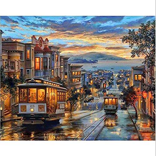 Diy Ölfarbe von Nummer Kit,Malerei Lacke Retro Straßenbahn Wandkunst Bild Zeichnung mit Pinsel 16 * 20 Zoll Weihnachten Dekor Dekorationen Geschenke (mit Rahmen)