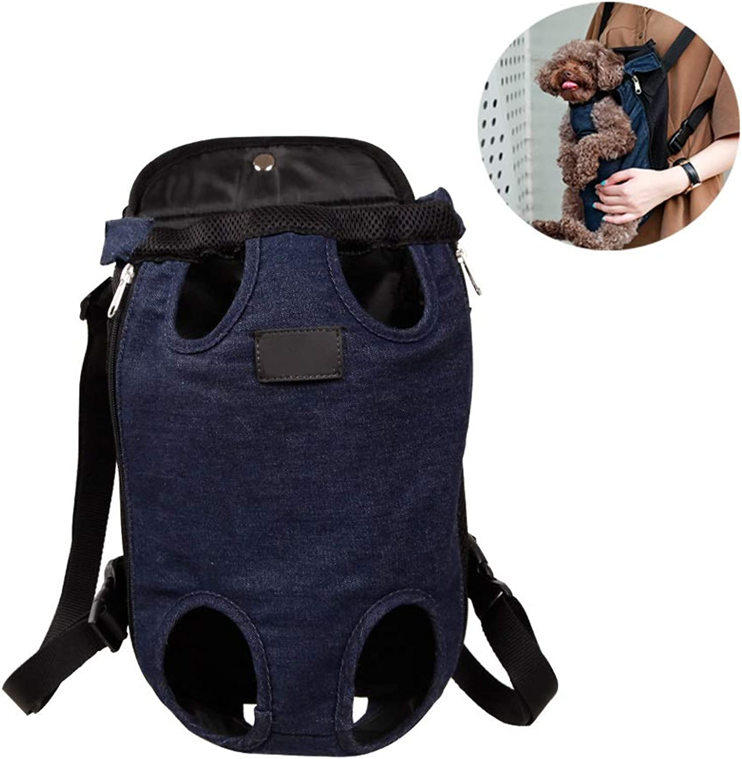 Denim Front Kangaroo Pouch Dog Carrier, Adjustable and Legs Out Pet Backpack Carrier, for Walking, Travel, Hiking, Camping (Size   M)