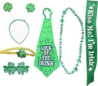 SOIMISS 6Pcs St. Patricks Day Party Costume Set HAPPY ST PATRICKS DAY Necklace Shamrock Headband Clover Eyeglasses Green T...