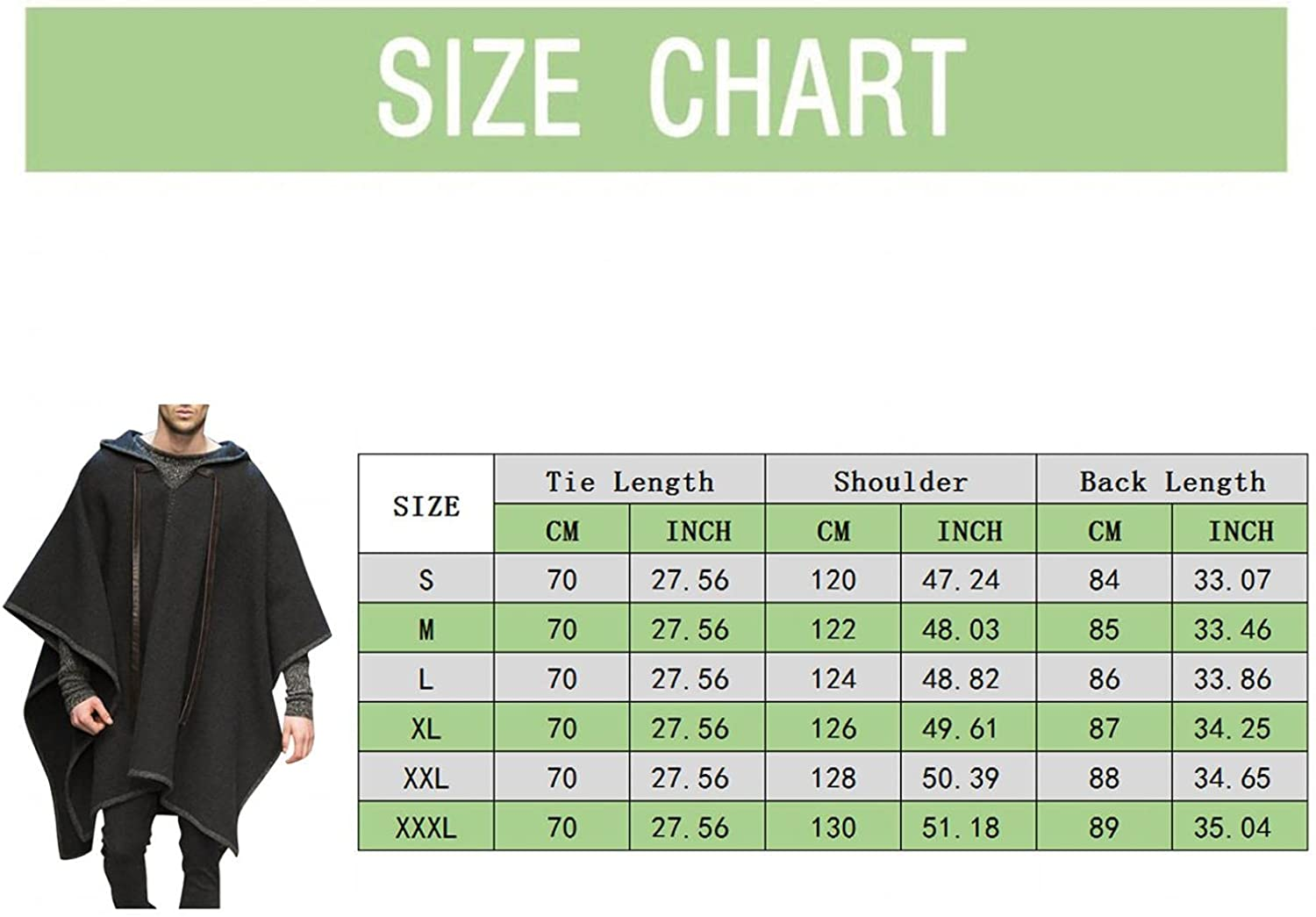 Qsctys Men's Shawl Casual Loose Fit Hooded Poncho Cape Cloak Fashion Coat Hoodie Pullover with Pocket Overcoat