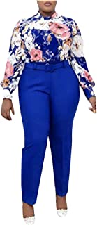 Forwelly Formal Suit Outfits for Women Floral Shirt and Ankle-Length Pant Two Piece Outfits Set for Office Work Daily
