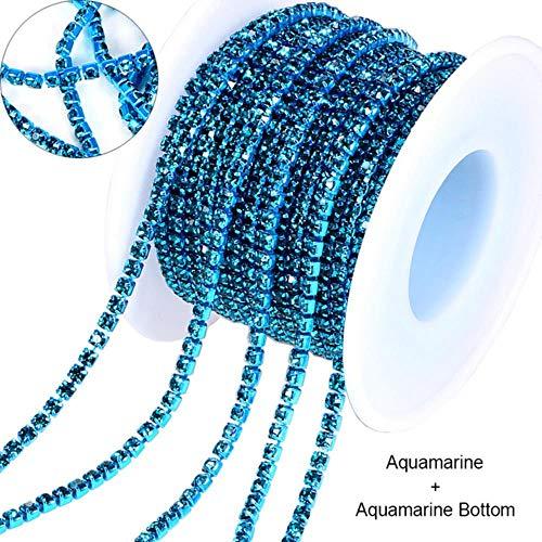 10 yard glas kristal Strass Rhinestone Cup ketting naai op Diamond Glue-On sluiten kettingen Glitter Trim Cup Chain naai kledingstuk, Aquamarine, SS8-2.5mm - 10Yard