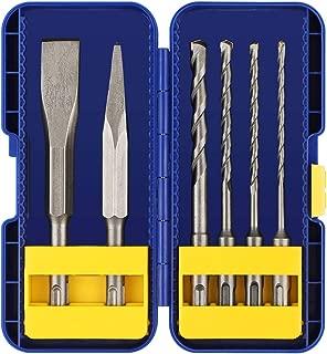 COMOWARE SDS Plus Masonry Drill Bits Set & Chisel, 6 Piece, Carbide