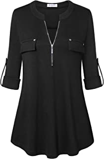 Bulotus Women's Zip Front V-Neck 3/4 Sleeve Tunic Casual Top