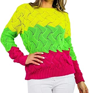 Womens Color Block Round Neck Long Sleeve Knitted Sweater Jumper