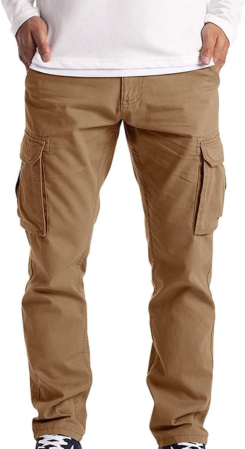 YUNDAN Chino Trouser for Mens Casual Work Long Pants with Pockets Outdoor Hunting Tactical Waterproof Pants
