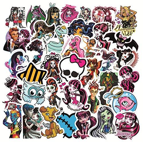 AXHZL Monster High Pegatina de Dibujos Animados Impermeable Coche Guitarra monopatín portátil teléfono Equipaje Graffiti Pegatina Juguetes para niños 50 Uds